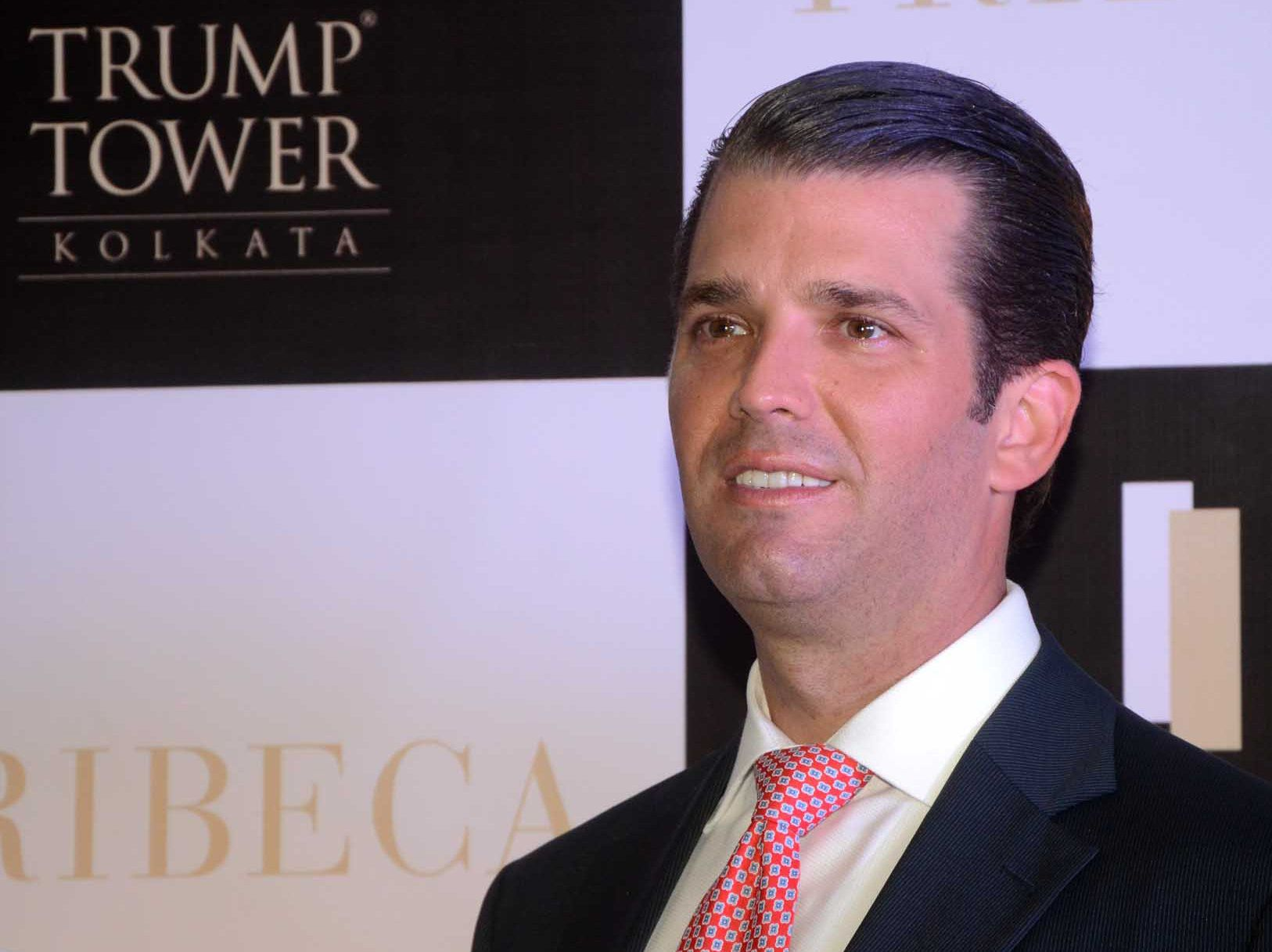 Donald Trump Jr at photo session after visit  Trump Tower, a luxury apartment building, ahead of the visit of Donald Trump Jr on February 21,2018 in Kolkata,India. (Photo by Debajyoti Chakraborty/NurPhoto via Getty Images)