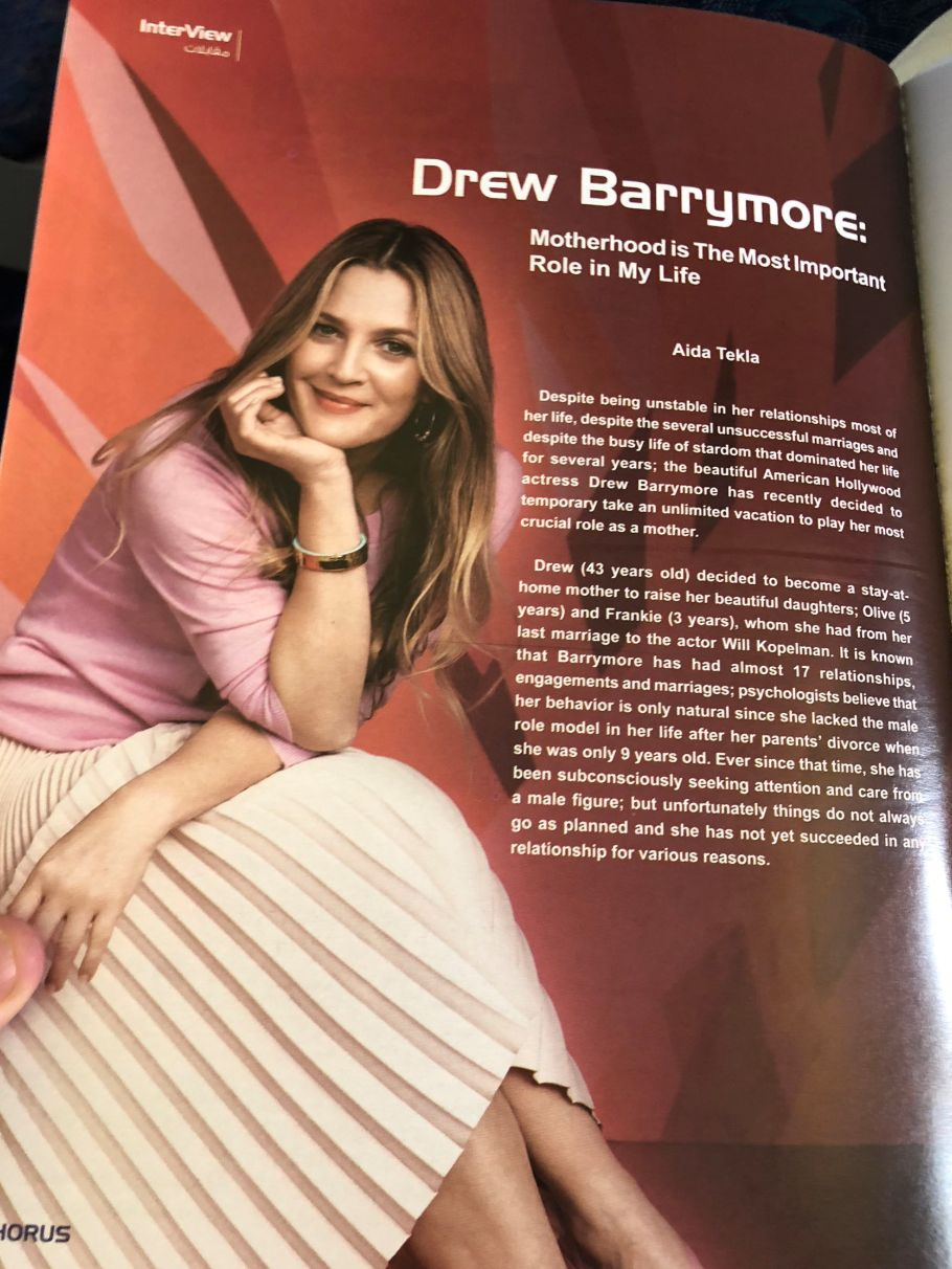 Adam Baron's photo of a fake interview with Drew Barrymore in EgyptAir's in-flight magazine, Horus.