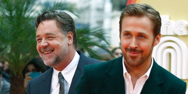 Actors Ryan Gosling and Russell Crowe (L) arrive at the UK Premiere of Nice Guys at a cinema in central London, Britain, May