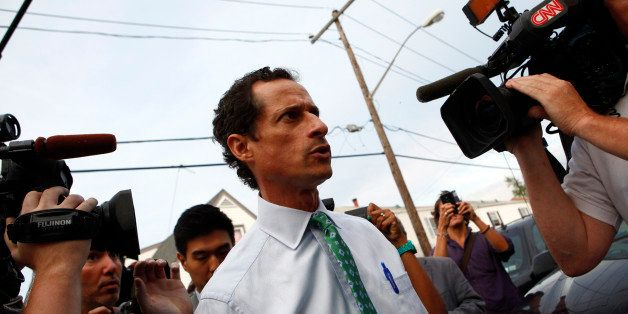 New York mayoral candidate Anthony Weiner arrives at a campaign event in the Rockaways section in the Queens borough of New Y