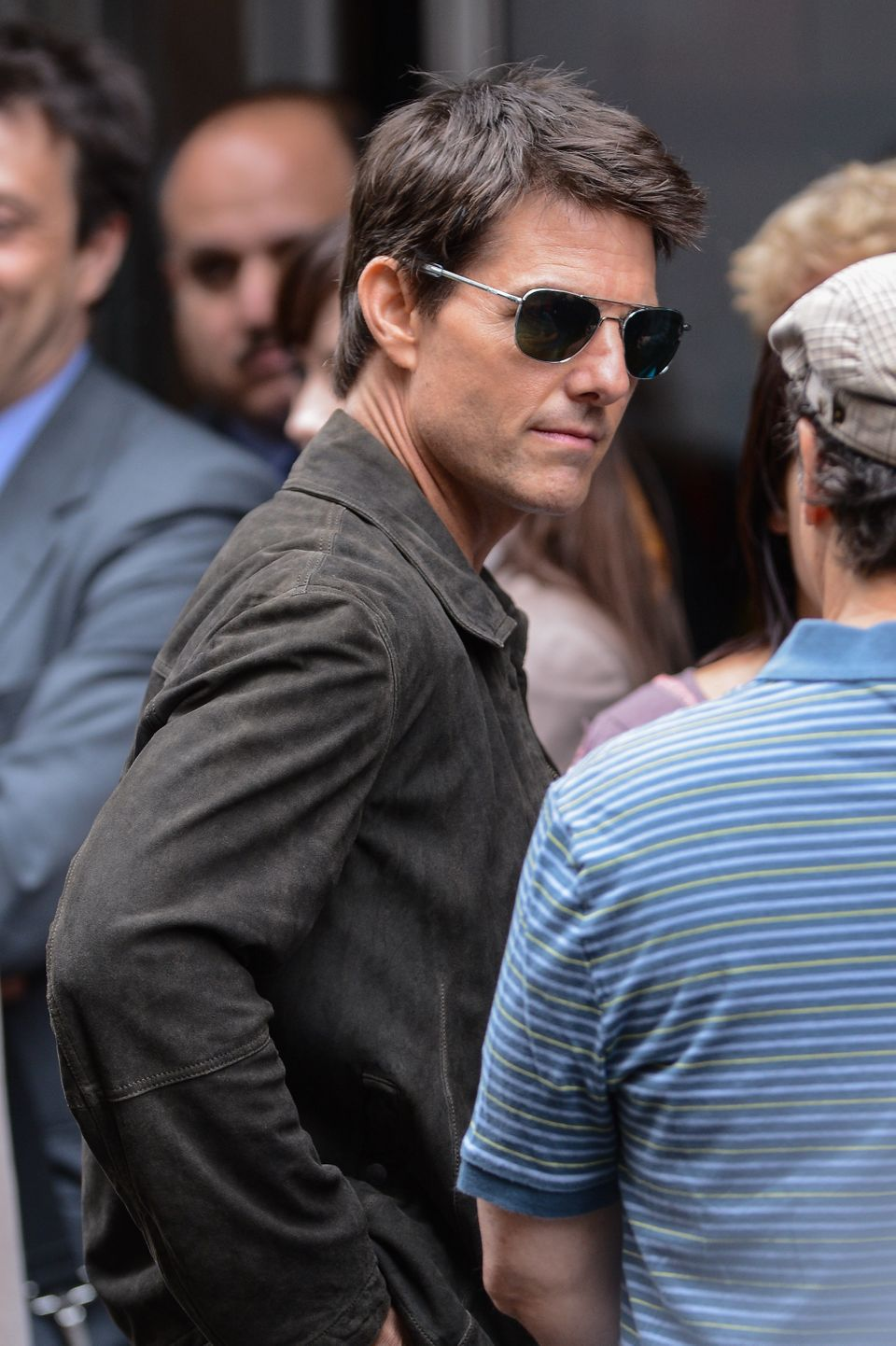 Tom Cruise films a scene at the 'Oblivion' movie set at the Empire State Building on June 13, 2012 in New York City.  (Photo