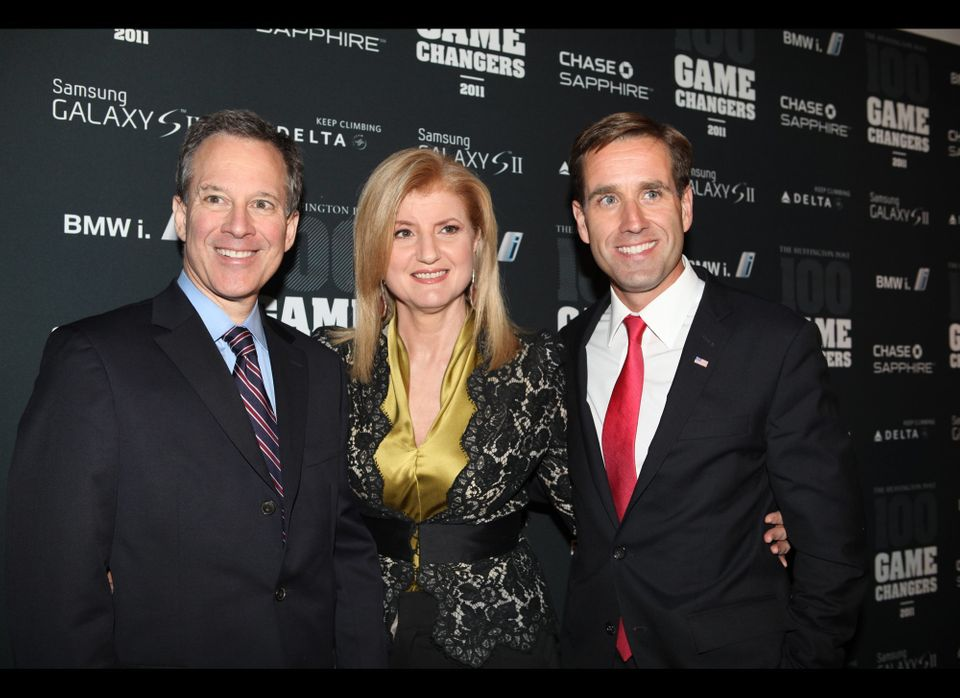 Arianna Huffington with New York Attorney General Eric Schneiderman (left) and Delaware Attorney General Beau Biden on the re