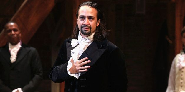 NEW YORK, NY - AUGUST 06:  Lin-Manuel Miranda performs at 'Hamilton' Broadway Opening Night at Richard Rodgers Theatre on Aug