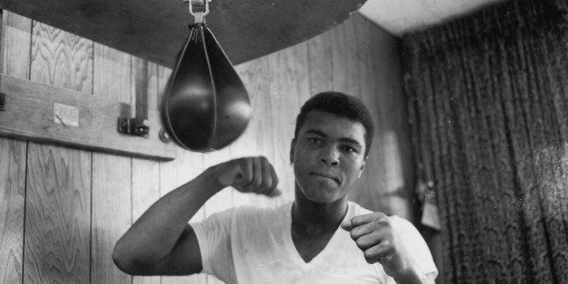 American Heavyweight boxer Cassius Clay (later Muhammad Ali), training in his gym, 21st May 1965. (Photo by Harry Benson/Expr