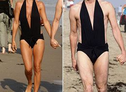 6944a5a962 Jenny McCarthy struts her stuff in a sexy black swimsuit while walking  hand-in-hand with her longtime love