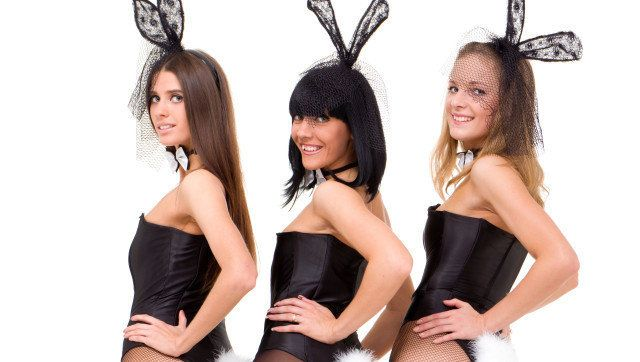 sexy bunny girls posing against ...