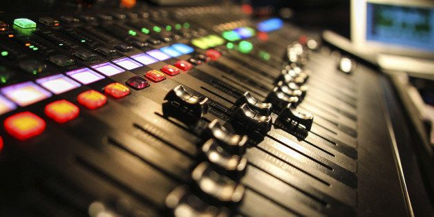 Audio mixing desk in use