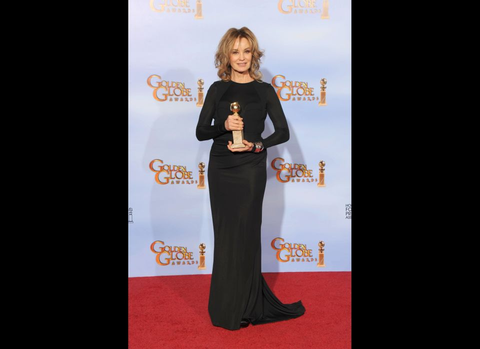 Actress Jessica Lange poses in the press room with the Best Performance by an Actress in a Supporting Role in a Series, Mini-
