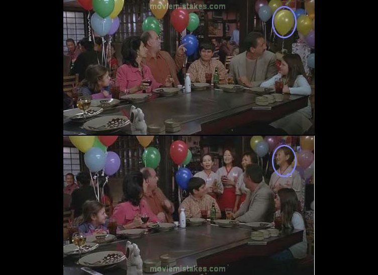In a scene featuring a children's birthday party, having a different color balloon magically appear in place of another is to