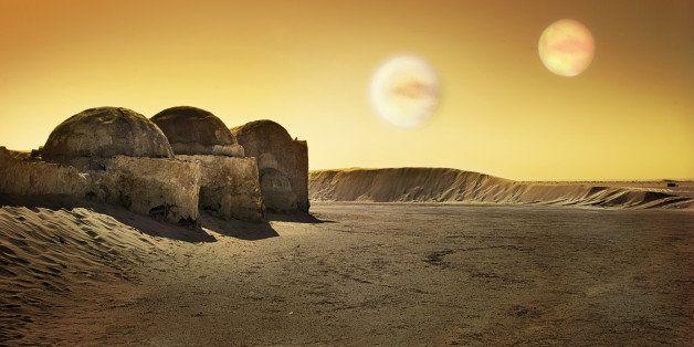 Tunisian landscape, where movie 'Star Wars' were shot.2 Suns were added in Photoshop.(Tatooine's twin suns).