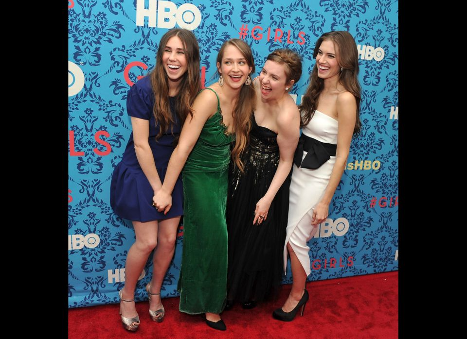 (L-R) Actress Zosia Mamet, actress Jemima Kirke, actress/creator/executive producer Lena Dunham, and actress Allison Williams
