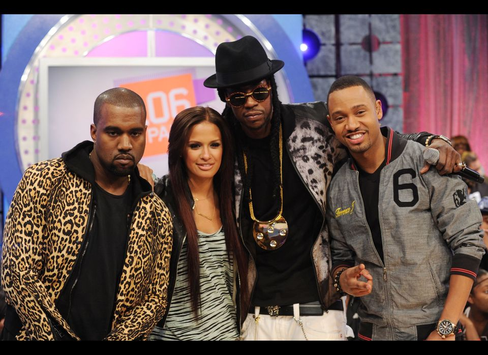 NEW YORK, NY - APRIL 09:  Kanye West, Rosci, 2 Chainz and Terrence J at 106 & Park Studio on April 9, 2012 in New York City.