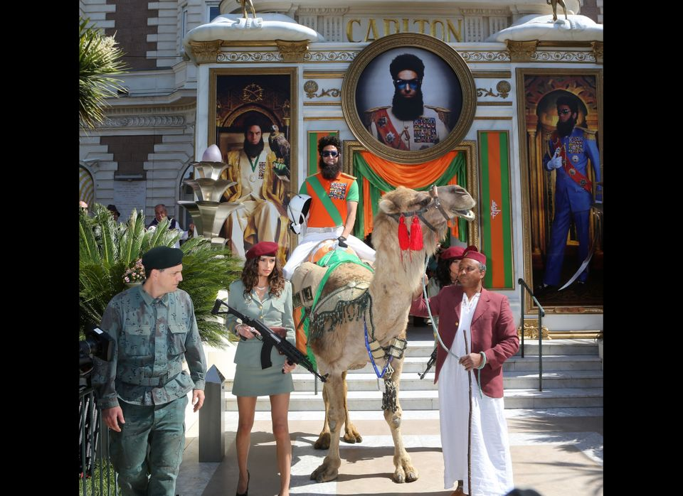 British actor Sacha Baron Cohen dressed as Admiral General Aladeen poses during a photocall to promote the film 'The Dictator