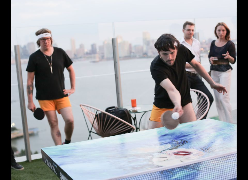 Photos from a SPiN ping pong tournament at The Standard's Le Bain rooftop and nightclub.