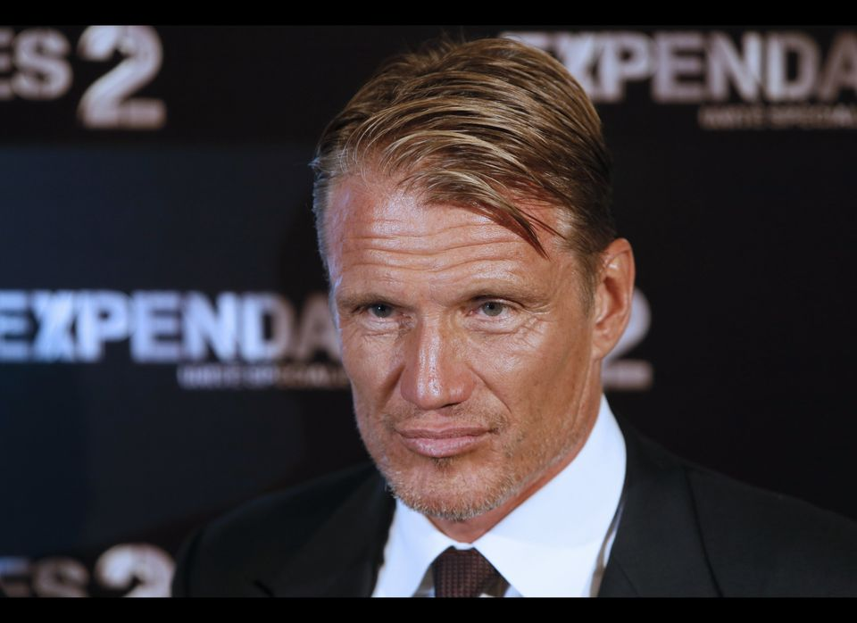 Swedish actor Dolph Lundgren poses on August 9, 2012 in Paris, during the photocall of 'The Expandables 2', directed by Briti