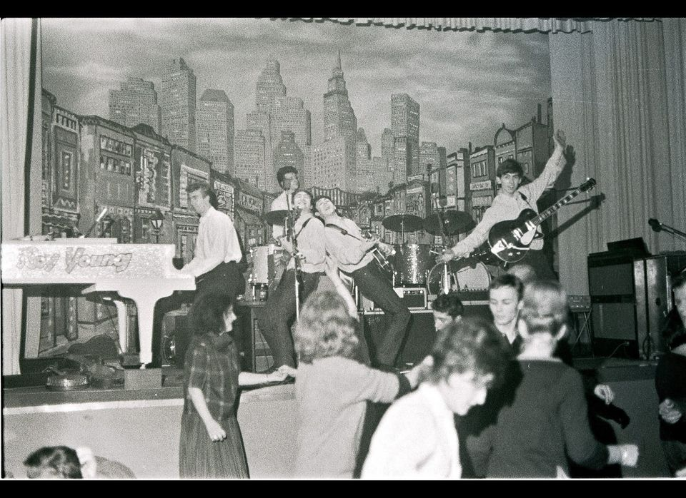 GERMANY - MAY 01: Photo of (L-R) guest pianist Roy Young performing with drummer Pete Best, singer-guitarist John Lennon, sin