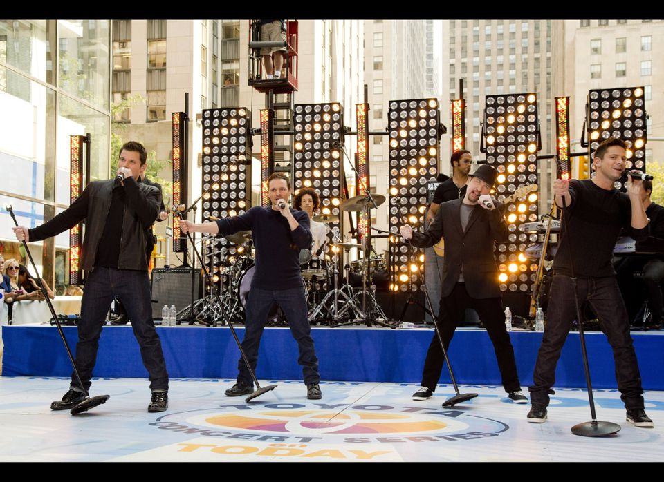 """Members of 98 Degrees, from left to right, Nick Lachey, Drew Lachey, Justin Jeffre and Jeff Timmons perform on NBC's """"Today"""""""