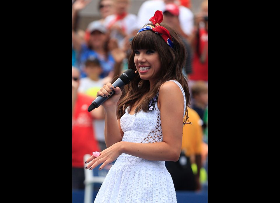 NEW YORK, NY - AUGUST 25:  Recording artist Carly Rae Jepsen performs during the Stadium Show on Arthur Ashe Kids' Day prior