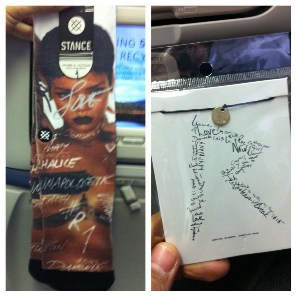Rihanna socks and a copy of her album.
