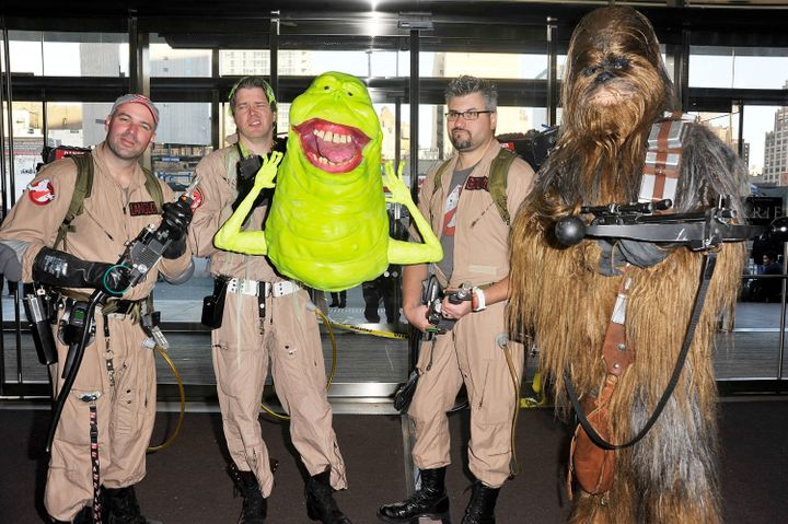 NEW YORK, NY - OCTOBER 13:  Comic Con attendees are wearing Ghostbusters and Star Wars costumes during the 2012 New York Comi