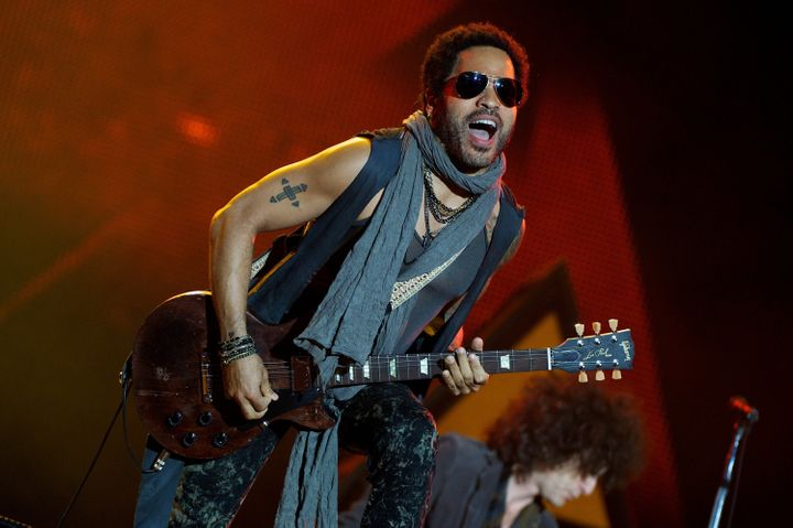 ARGANDA DEL REY, SPAIN - JUNE 30:  Lenny Kravitz performs on stage during Rock in Rio Madrid 2012 on June 30, 2012 in Arganda