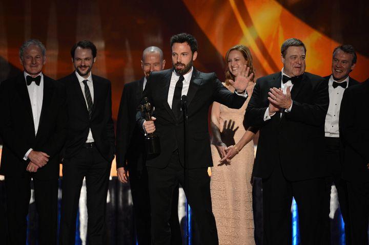 LOS ANGELES, CA - JANUARY 27:  (L-R) Actors Victor Garber; Christopher Denham; Bryan Cranston; Ben Affleck (speaking); Kerry