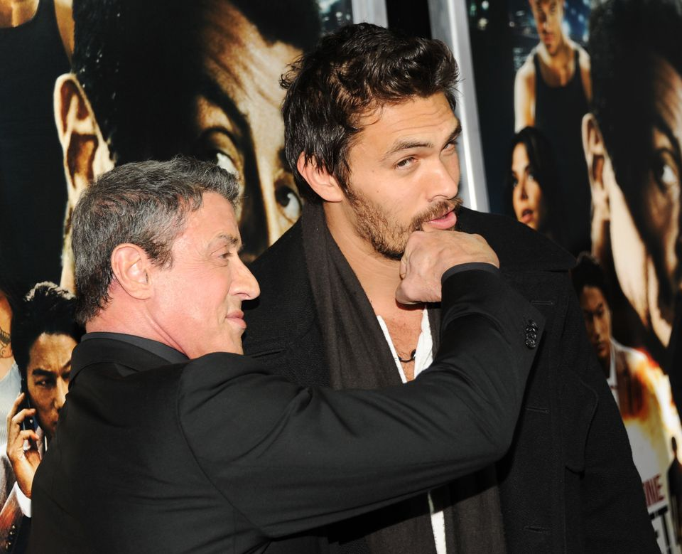 """Actors Sylvester Stallone, left, and Jason Momoa attend the """"Bullet To The Head"""" premiere at AMC Lincoln Square on Tuesday, J"""