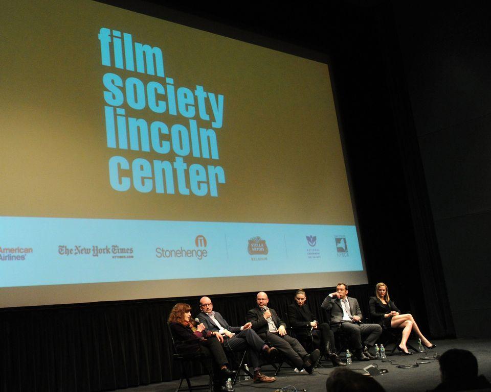 NEW YORK, NY - JANUARY 30:  (L-R) Steven Soderbergh, Scott Z. Burns, Rooney Mara, Jude Law and Vinessa Shaw attend the 'Side
