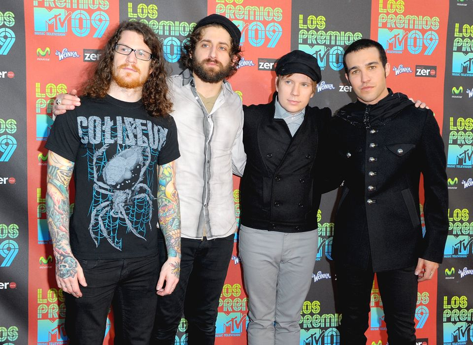 UNIVERSAL CITY, CA - OCTOBER 15:  (L-R) Musicians Andy Hurley, Joe Trohman, Patrick Stump and Pete Wentz of the band Fall Out