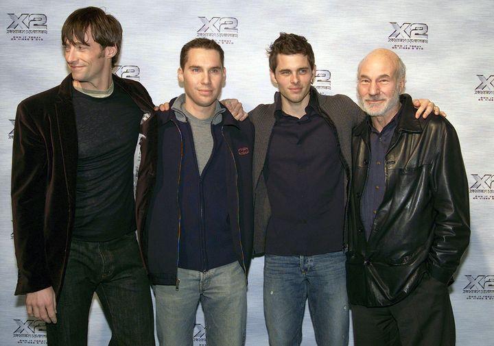 NEW YORK - NOVEMBER 24:  (U.S. TABLOIDS AND HOLLYWOOD REPORTER OUT) Actors Hugh Jackman, Bryan Singer, James Marsden and Patr