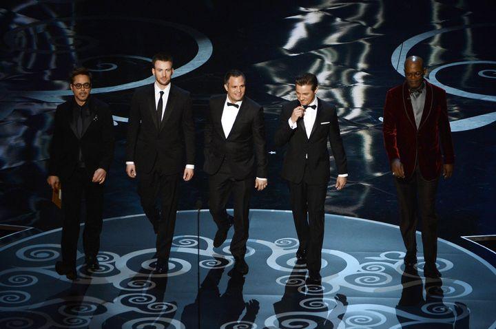 HOLLYWOOD, CA - FEBRUARY 24:  Actors Robert Downey Jr., Chris Evans, Mark Ruffalo, Jeremy Renner and Samuel L. Jackson presen