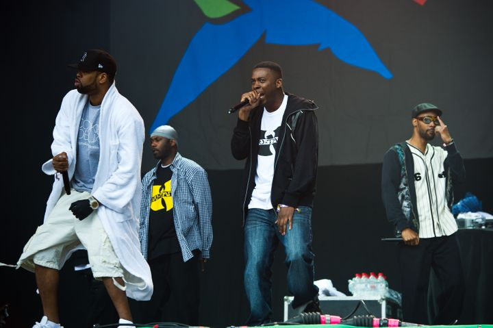 GLASTONBURY, ENGLAND - JUNE 24: Wu Tang Clan perform live on the pyramid stage during the Glastonbury Festival at Worthy Farm