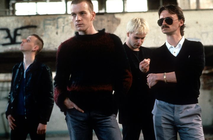 From left to right, Ewan Bremner, Ewan McGregor, Jonny Lee Miller and Robert Carlyle in a scene from the film 'Trainspotting'