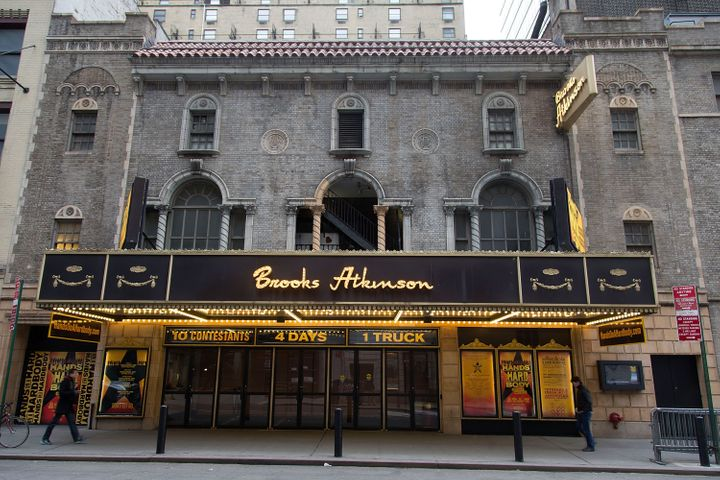 NEW YORK, NY - MARCH 18:  A general view of the exterior of Brooks Atkinson Theatre showing 'HAnds on a Hardbody' on March 18