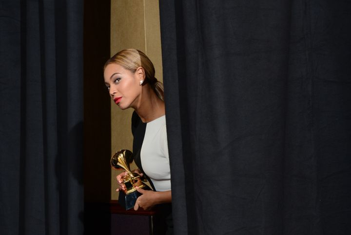 Singer Beyonce poses in the press room at the Staples Center during the 55th Grammy Awards in Los Angeles, California, Februa