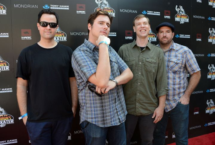 BEVERLY HILLS, CA - OCTOBER 07:  (L-R) Musicians Tom Linton, Jim Adkins, Rick Burch and Zach Lind of the band Jimmy Eat World