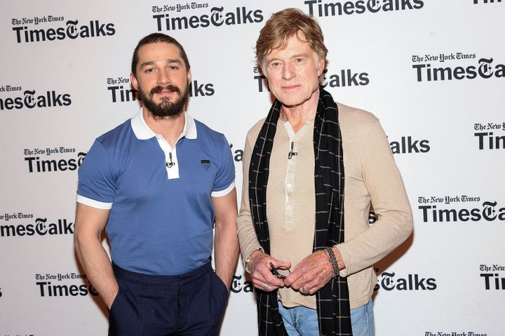 NEW YORK, NY - APRIL 02:  Actor/ director Robert Redford (R) and actor Shia LaBeouf attend TimesTalks Presents: 'The Company