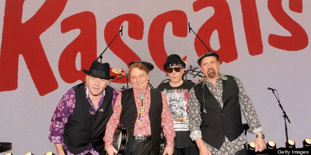 NEW YORK, NY - APRIL 15:  (L-R) Gene Cornish, Eddie Brigati, Dino Danelli and Felix Cavaliere of The Rascals attend 'The Rasc