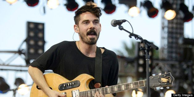 INDIO, CA - APRIL 12: Taylor Rice of Local Natives performs as part of the 2013 Coachella Valley Music & Arts Festival at the