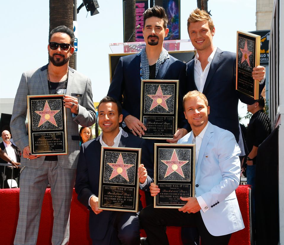 HOLLYWOOD, CA - APRIL 22:  (L-R) Singers AJ McLean, Howie Dorough, Kevin Richardson, Nick Carter, and Brian Littrel of Backst