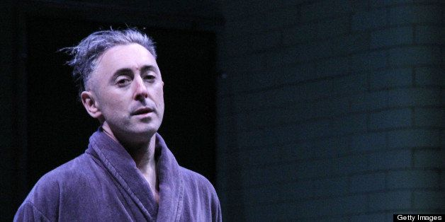 NEW YORK, NY - APRIL 21:  Alan Cumming takes his opening night curtain call in  'Macbeth' at The Ethel Barrymore Theatre on A