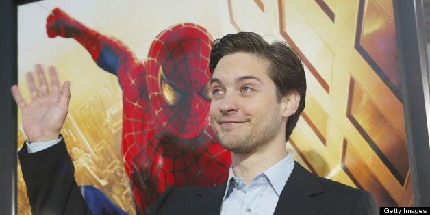 Tobey Maguire arrives for the premiere of 'Spider Man' at the Mann Village in Westwood, Ca., April 29, 2002.  photo by Kevin