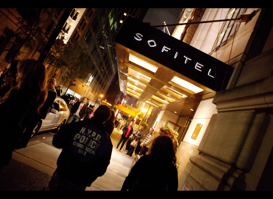 Strauss-Kahn checks into the Sofitel Hotel near Times Square in New York City.