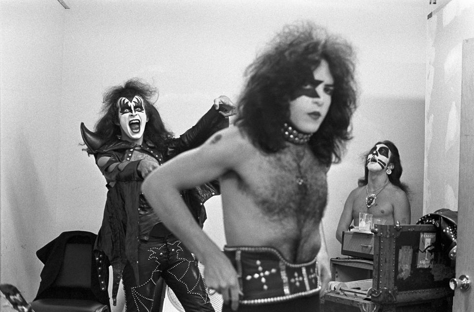 Gene Simmons of Kiss, practicing his moves while Paul Stanley gets ready, before performing  at Alex Cooley's Electric Ballro