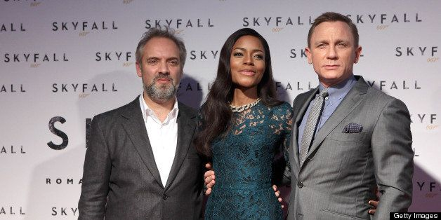 ROME, ITALY - OCTOBER 26:  (L-R) Director Sam Mendes, actress Naomie Harris and actor Daniel Craig attend 'Skyfall' Rome Prem