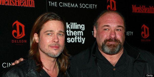 NEW YORK, NY - NOVEMBER 26:  Actors Brad Pitt and James Gandolfini attend a screening of The Weinstein Company's 'Killing The
