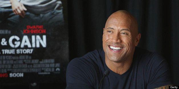 MIAMI, FL - APRIL 11:  Dwayne Johnson attends the press conference of the Miami Premiere of 'Pain & Gain' at Mandarin Orienta