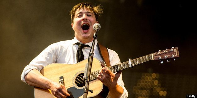 LONDON, UNITED KINGDOM - JULY 06: Marcus Mumford of Mumford & Sons performs at their biggest headline show to date during the