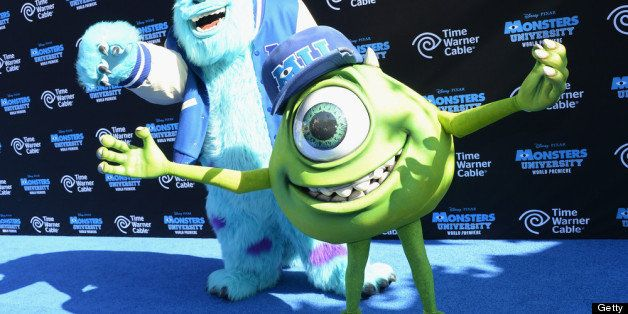 HOLLYWOOD, CA - JUNE 17:  Characters James Sullivan and Mike Wazowski attend the premiere of Disney Pixar's 'Monsters Univers