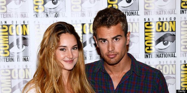 SAN DIEGO, CA - JULY 18:  Actress Shailene Woodley (L) and actor Theo James attend 'Enders Game' and 'Divergent' Press Line d